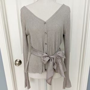 Sundance Just Divine Grey Belted V-neck Cardigan